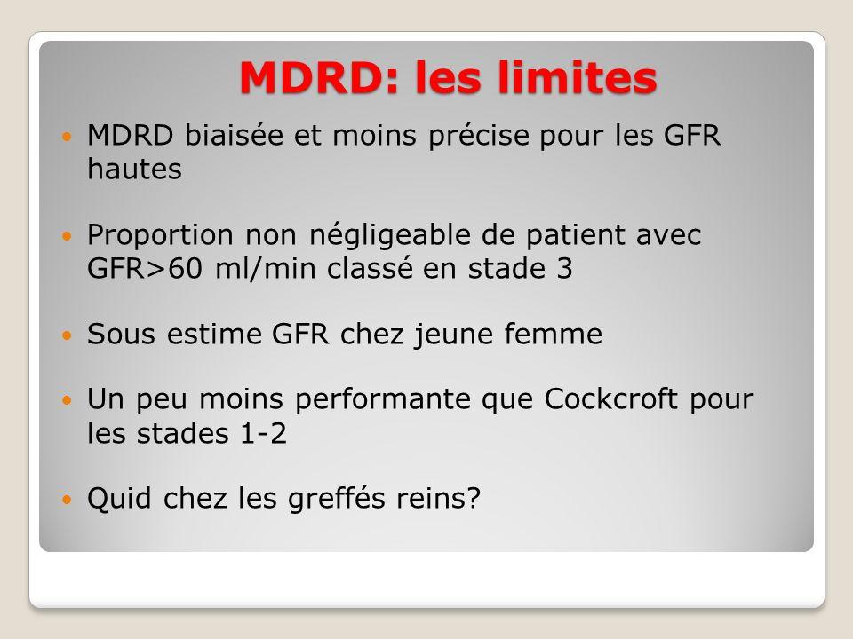 MDRD: les limites MDRD biaisée et moins précise pour les GFR hautes