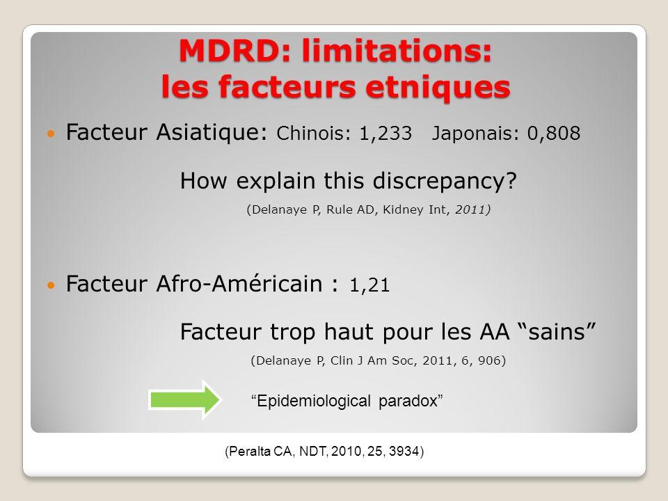 MDRD: limitations: les facteurs etniques