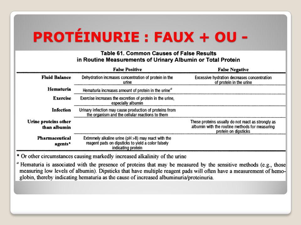 PROTÉINURIE : FAUX + OU -