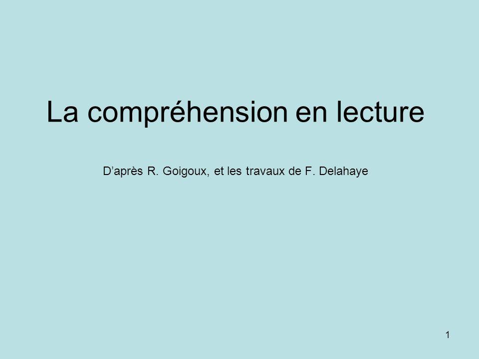 La compréhension en lecture D'après R. Goigoux, et les travaux de F