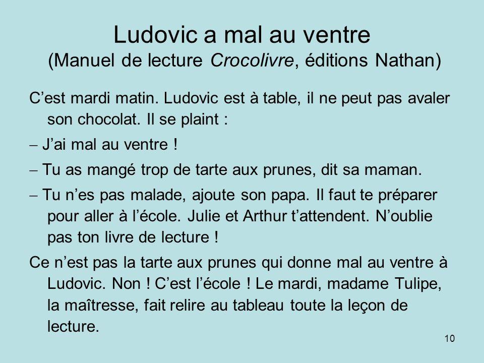 Ludovic a mal au ventre (Manuel de lecture Crocolivre, éditions Nathan)