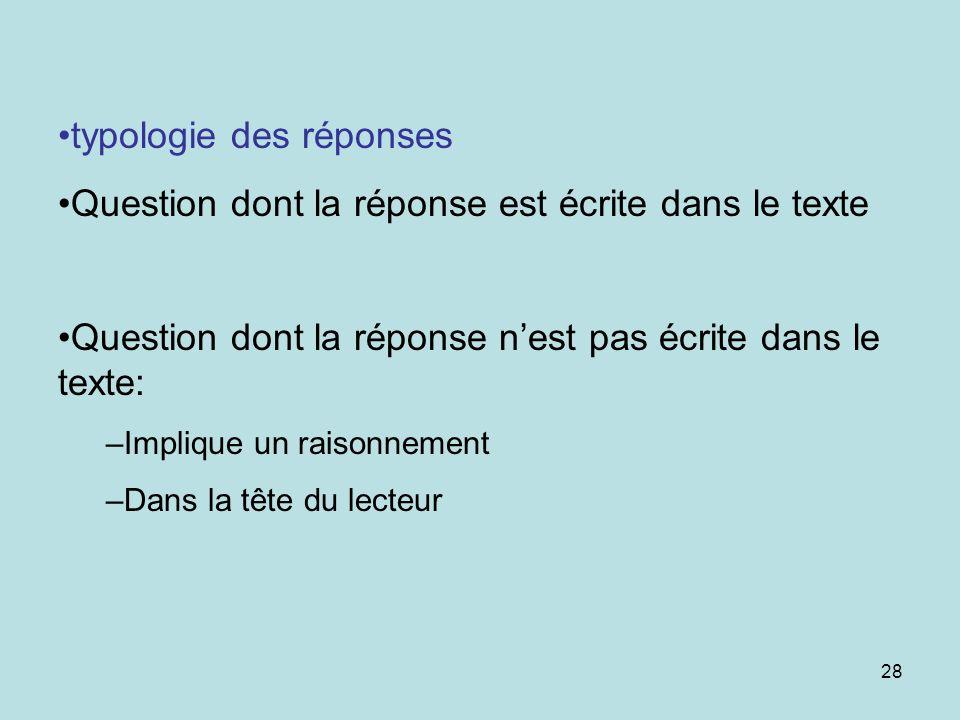 typologie des réponses