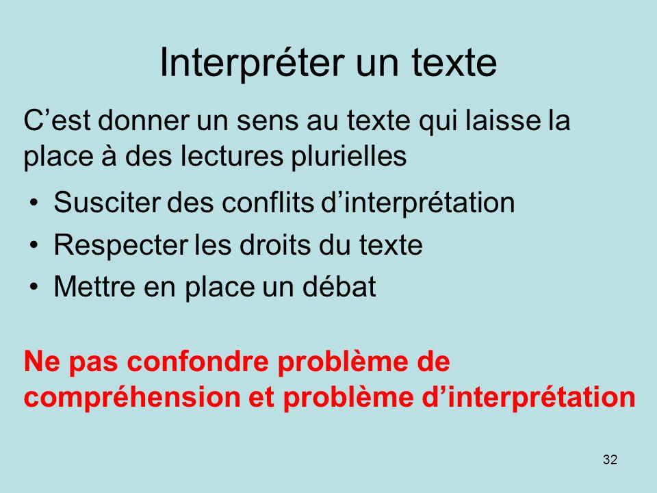 Interpréter un texte C'est donner un sens au texte qui laisse la place à des lectures plurielles. Susciter des conflits d'interprétation.