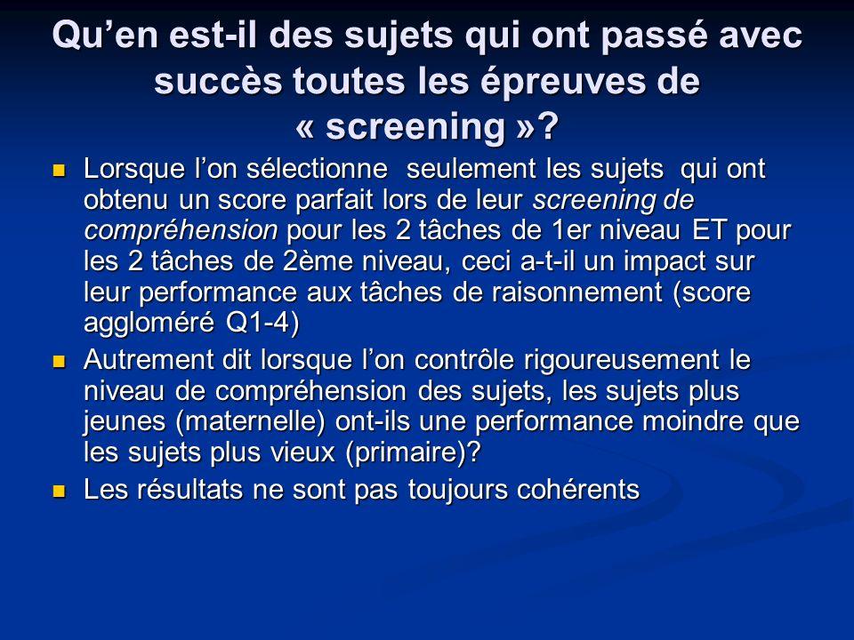 Qu'en est-il des sujets qui ont passé avec succès toutes les épreuves de « screening »