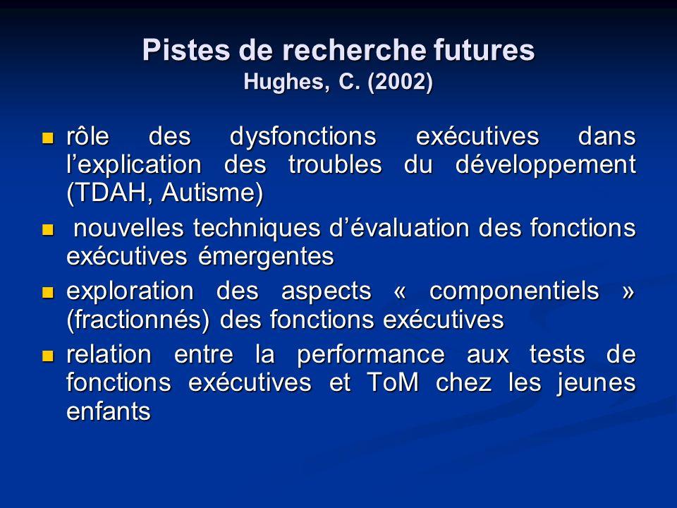 Pistes de recherche futures Hughes, C. (2002)