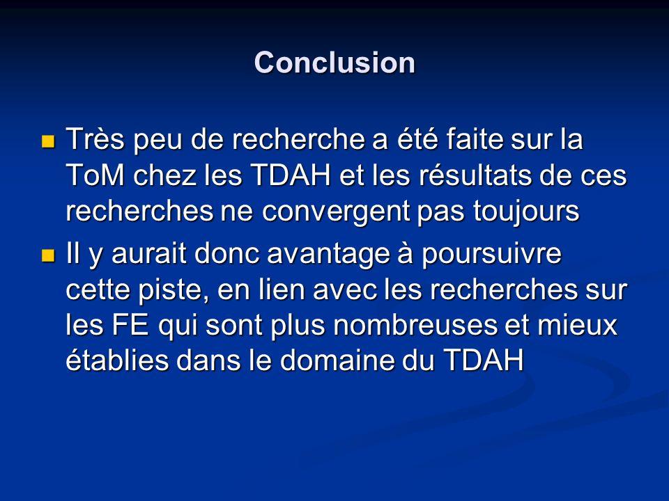 Conclusion Très peu de recherche a été faite sur la ToM chez les TDAH et les résultats de ces recherches ne convergent pas toujours.