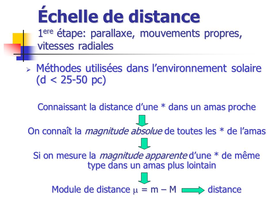 Échelle de distance 1ere étape: parallaxe, mouvements propres, vitesses radiales