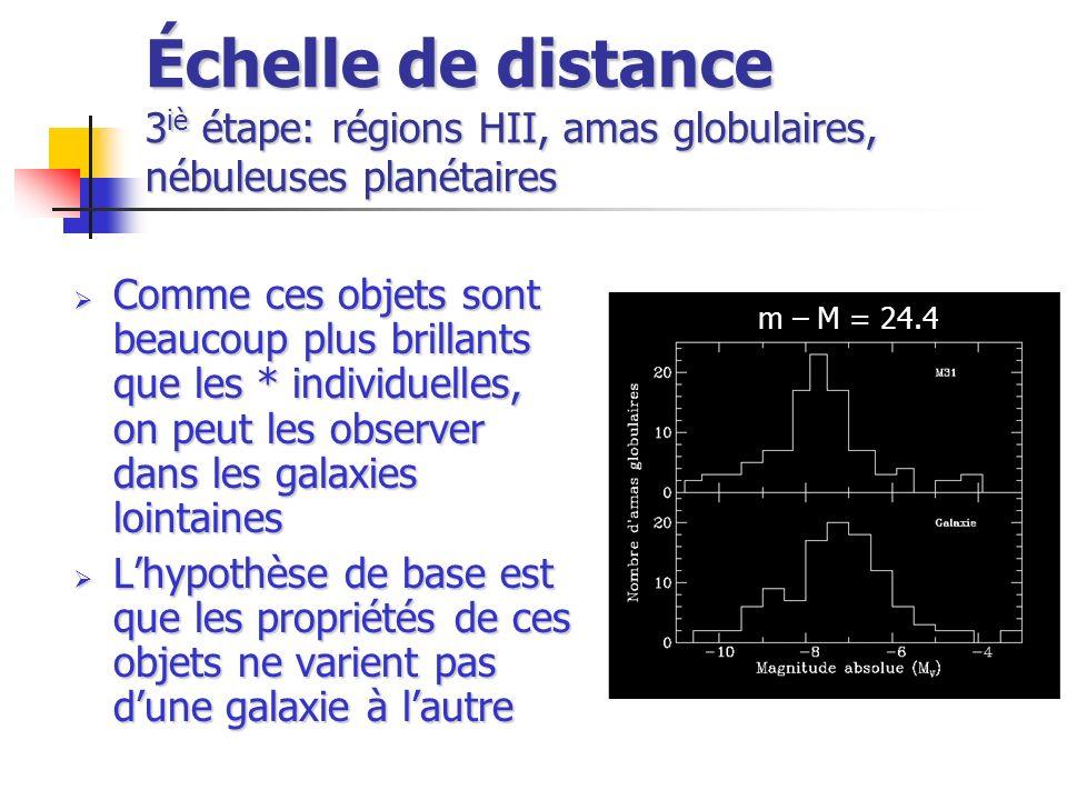 Échelle de distance 3iè étape: régions HII, amas globulaires, nébuleuses planétaires