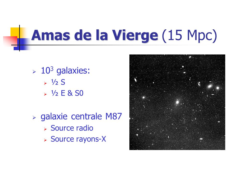 Amas de la Vierge (15 Mpc) 103 galaxies: galaxie centrale M87 ½ S