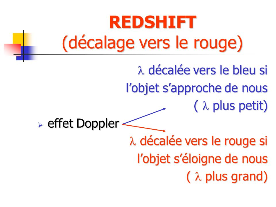 REDSHIFT (décalage vers le rouge)