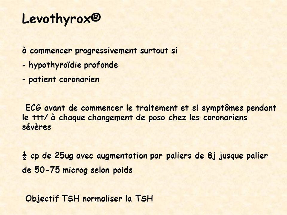 Levothyrox® à commencer progressivement surtout si