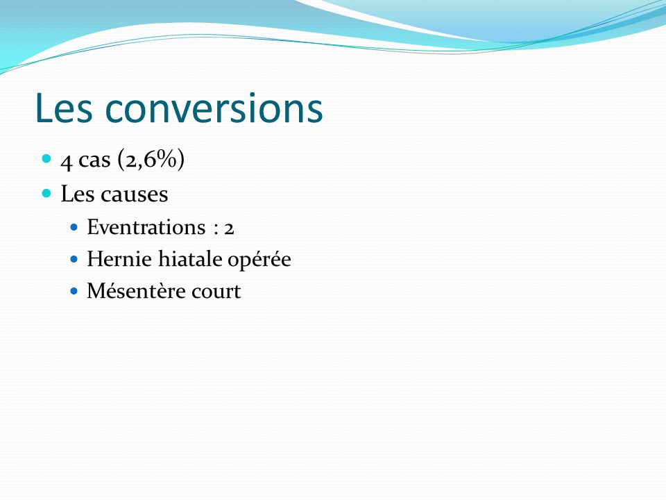 Les conversions 4 cas (2,6%) Les causes Eventrations : 2