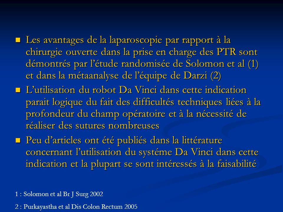 Les avantages de la laparoscopie par rapport à la chirurgie ouverte dans la prise en charge des PTR sont démontrés par l'étude randomisée de Solomon et al (1) et dans la métaanalyse de l'équipe de Darzi (2)