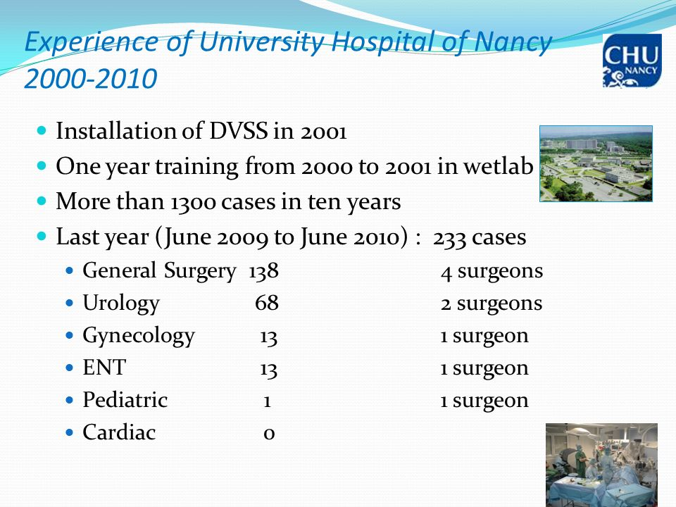 Experience of University Hospital of Nancy 2000-2010