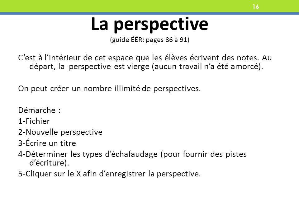 La perspective (guide ÉÉR: pages 86 à 91)