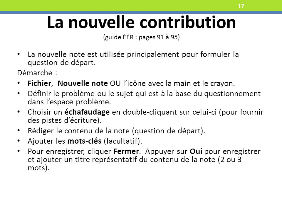 La nouvelle contribution (guide ÉÉR : pages 91 à 95)