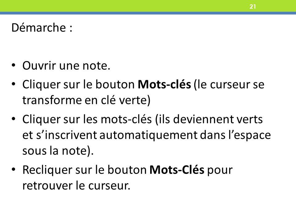 Recliquer sur le bouton Mots-Clés pour retrouver le curseur.