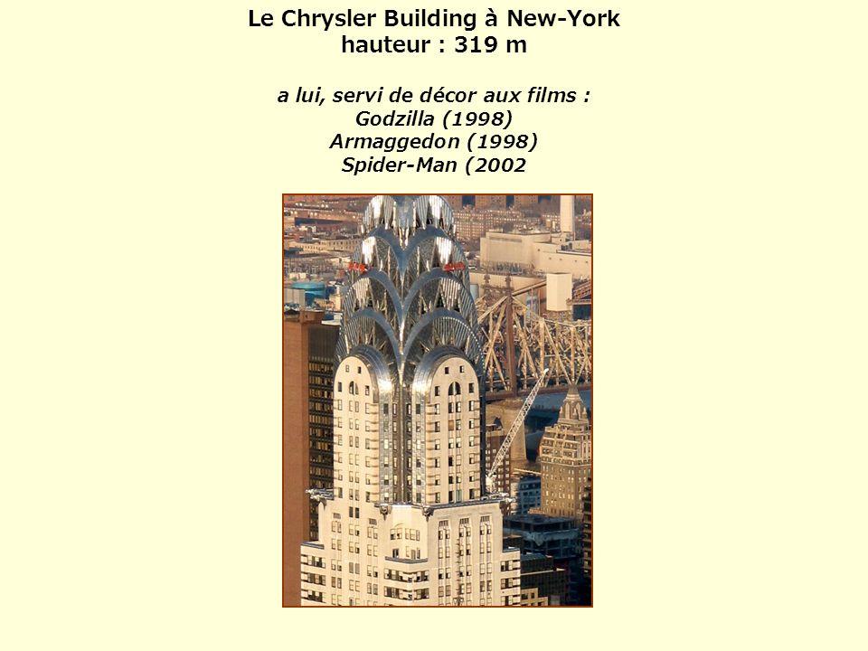 Le Chrysler Building à New-York hauteur : 319 m a lui, servi de décor aux films : Godzilla (1998) Armaggedon (1998) Spider-Man (2002