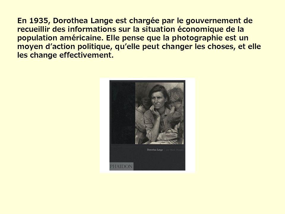 En 1935, Dorothea Lange est chargée par le gouvernement de recueillir des informations sur la situation économique de la population américaine.