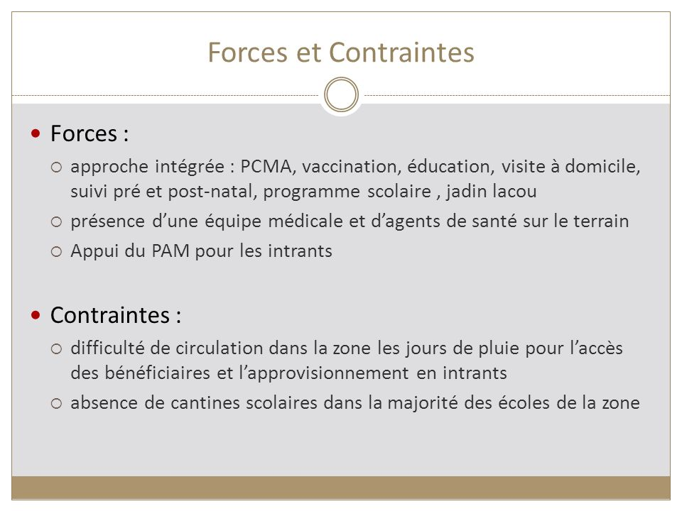 Forces et Contraintes Forces : Contraintes :