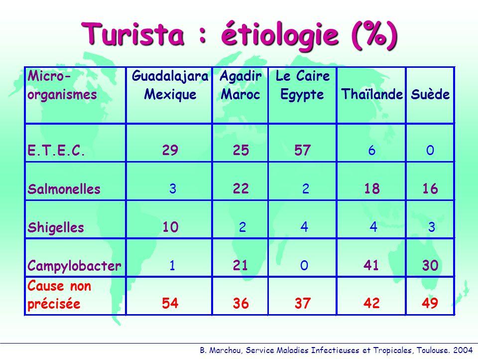 Turista : étiologie (%)