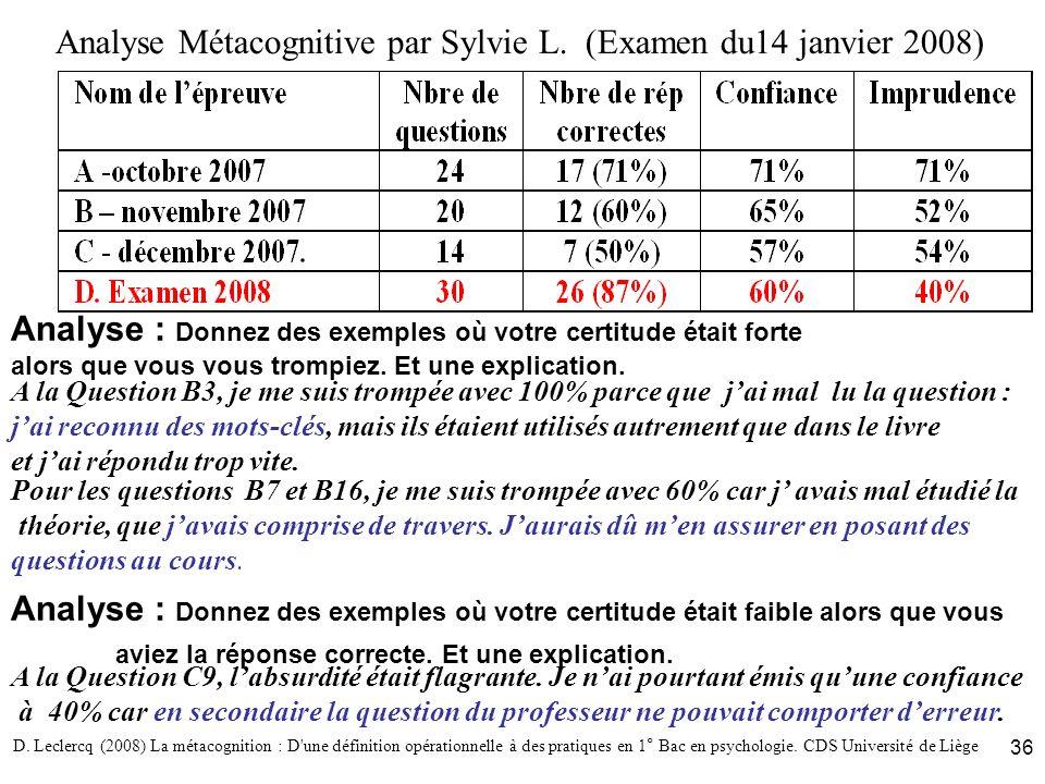 Analyse Métacognitive par Sylvie L. (Examen du14 janvier 2008)