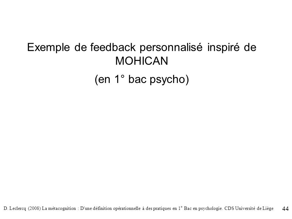 Exemple de feedback personnalisé inspiré de MOHICAN (en 1° bac psycho)