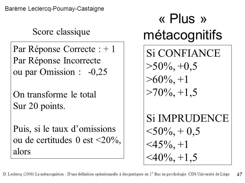 « Plus » métacognitifs Si CONFIANCE >50%, +0,5 >60%, +1