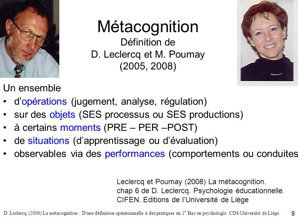 Métacognition Définition de D. Leclercq et M. Poumay (2005, 2008)
