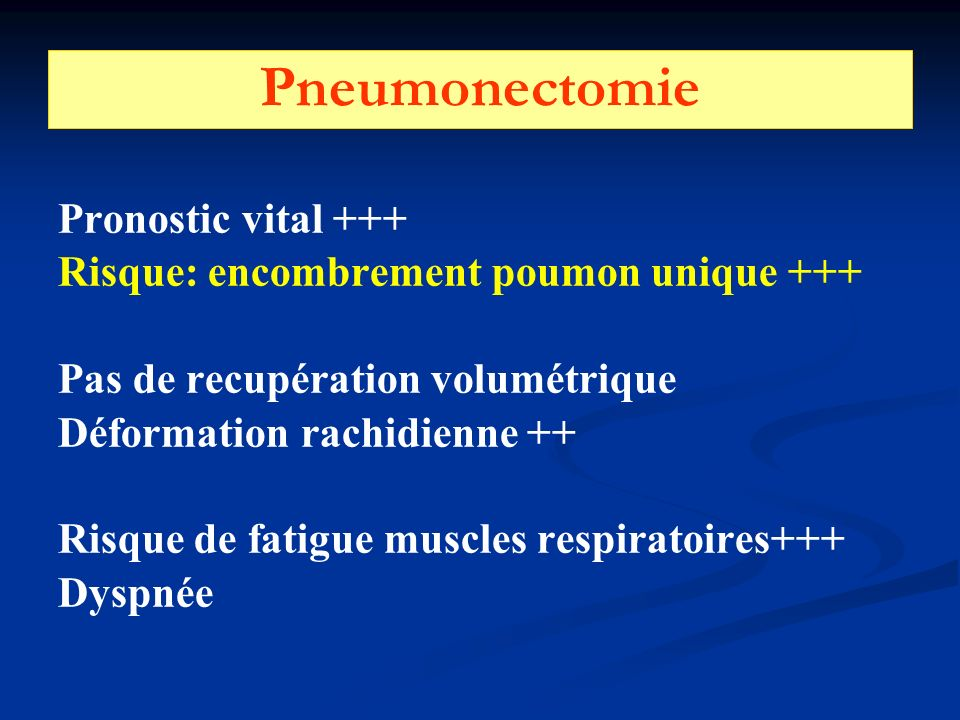 Pneumonectomie Pronostic vital +++