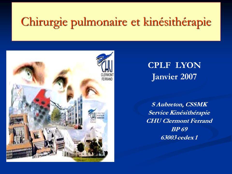 Chirurgie pulmonaire et kinésithérapie