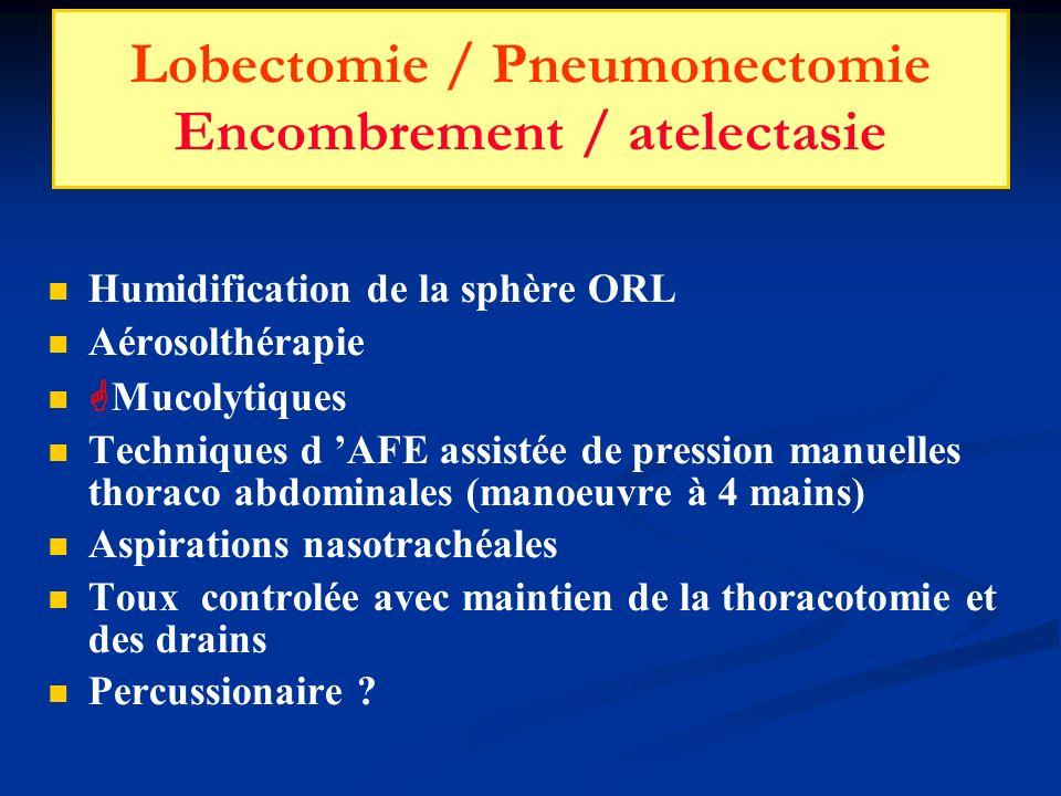 Lobectomie / Pneumonectomie Encombrement / atelectasie