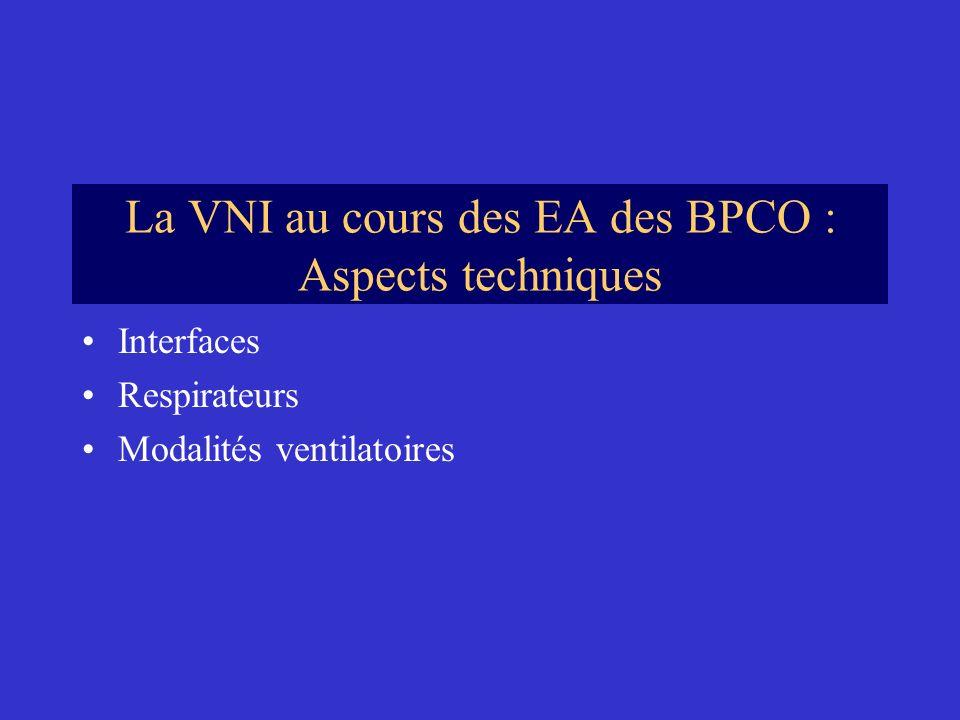La VNI au cours des EA des BPCO : Aspects techniques