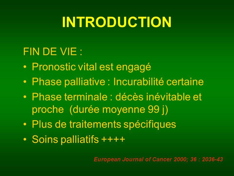 INTRODUCTION FIN DE VIE : Pronostic vital est engagé
