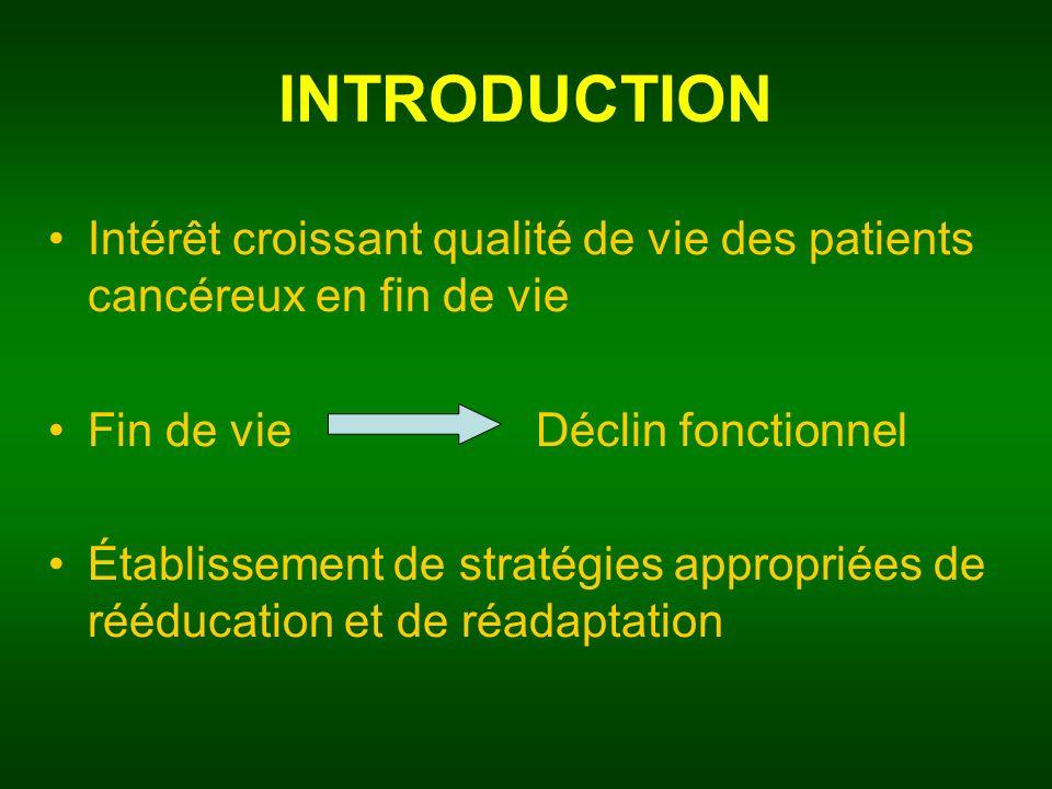 INTRODUCTION Intérêt croissant qualité de vie des patients cancéreux en fin de vie. Fin de vie Déclin fonctionnel.