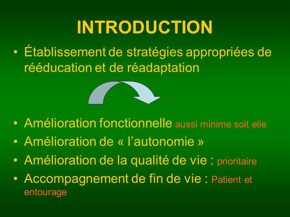 INTRODUCTION Établissement de stratégies appropriées de rééducation et de réadaptation. Amélioration fonctionnelle aussi minime soit elle.