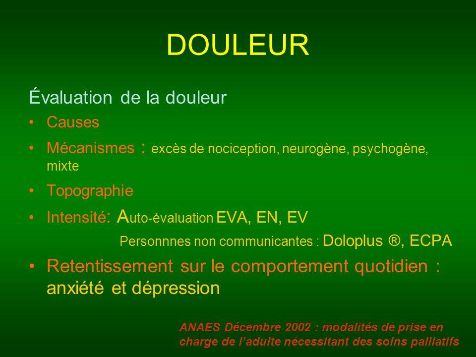 DOULEUR Évaluation de la douleur