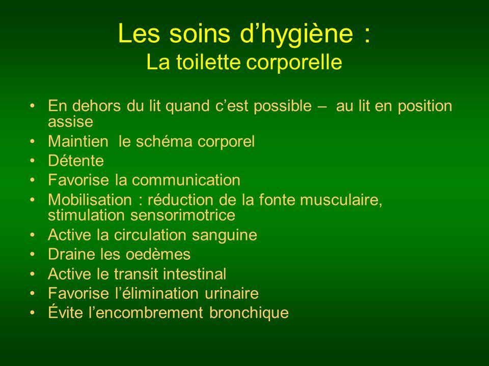 Les soins d'hygiène : La toilette corporelle