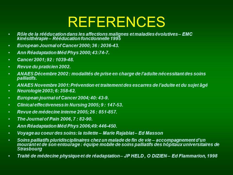 REFERENCES Rôle de la rééducation dans les affections malignes et maladies évolutives – EMC kinésithérapie – Rééducation fonctionnelle 1995.