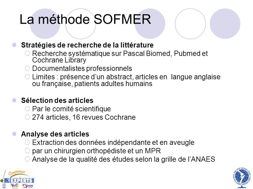 La méthode SOFMER Stratégies de recherche de la littérature