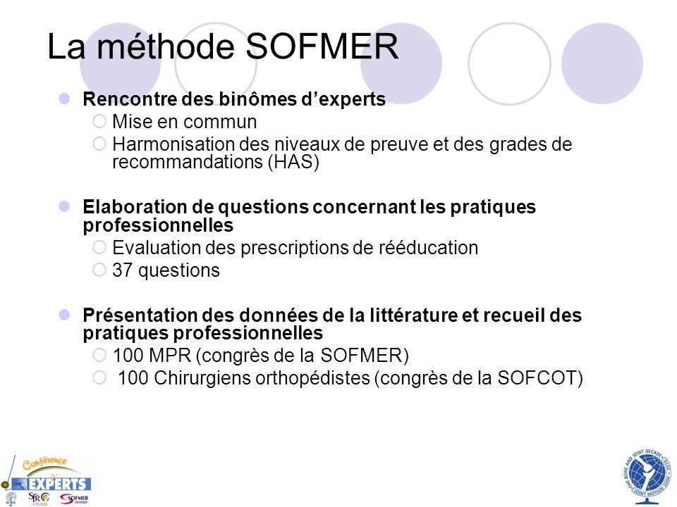 La méthode SOFMER Rencontre des binômes d'experts Mise en commun