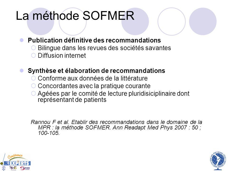 La méthode SOFMER Publication définitive des recommandations