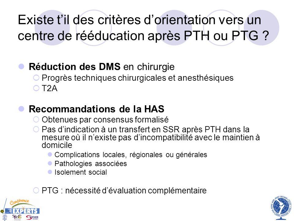 Existe t'il des critères d'orientation vers un centre de rééducation après PTH ou PTG