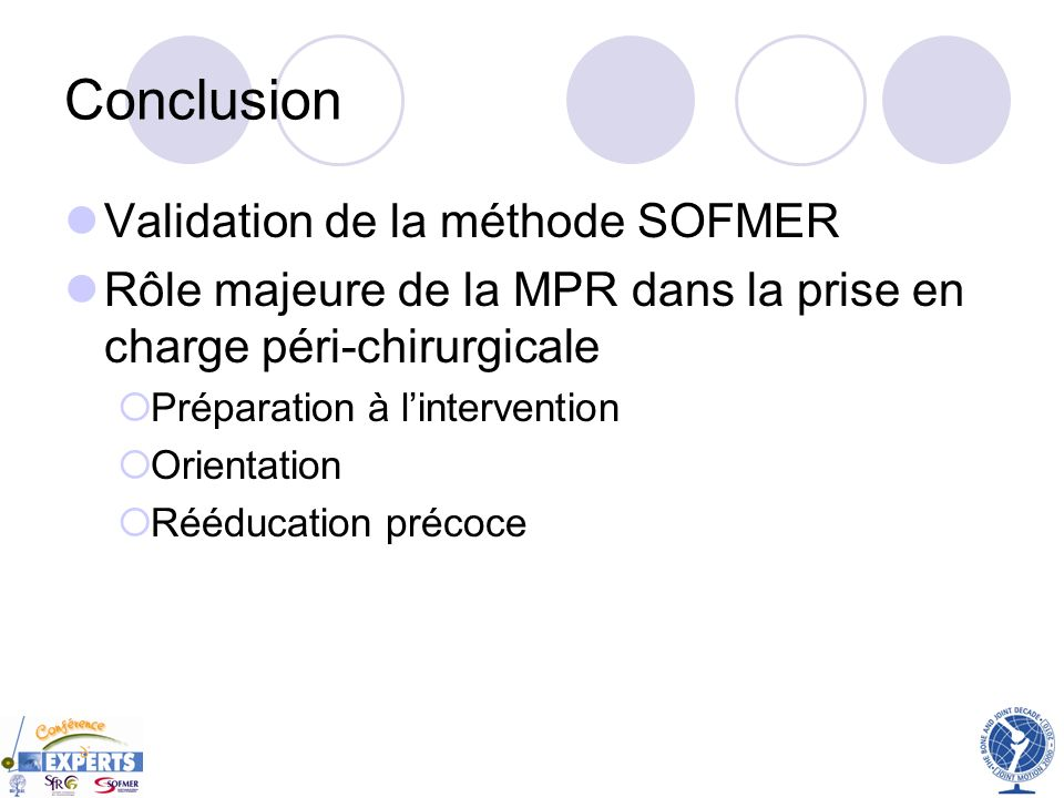 Conclusion Validation de la méthode SOFMER