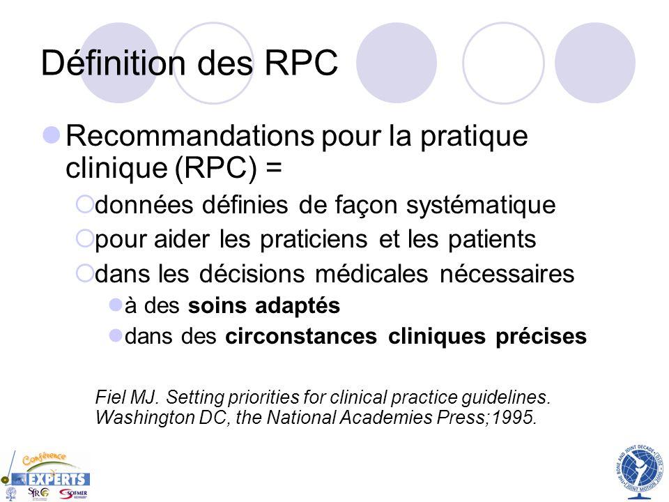 Définition des RPC Recommandations pour la pratique clinique (RPC) =
