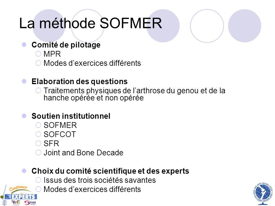 La méthode SOFMER Comité de pilotage MPR Modes d'exercices différents