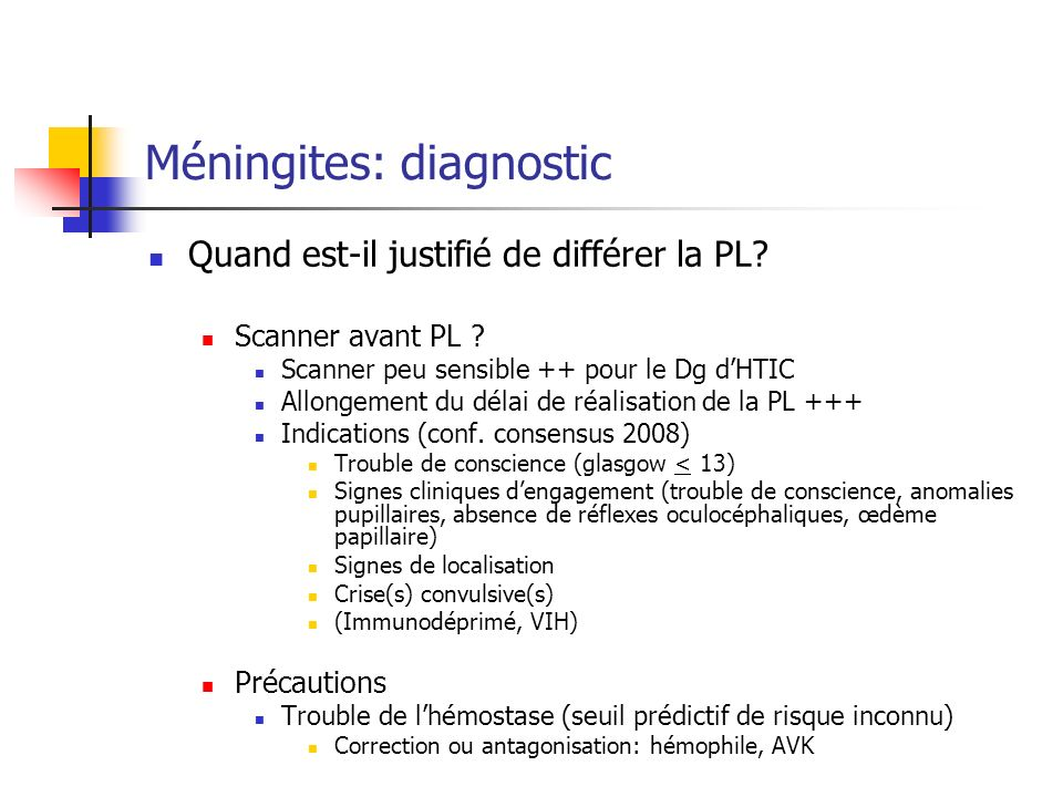 Méningites: diagnostic