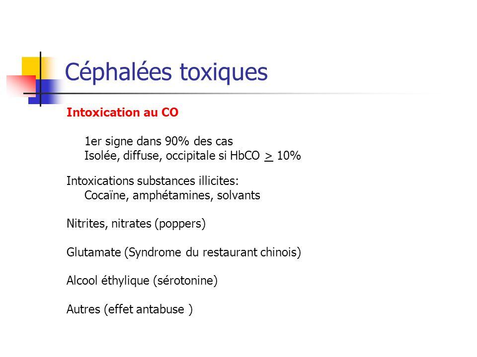 Céphalées toxiques Intoxication au CO 1er signe dans 90% des cas