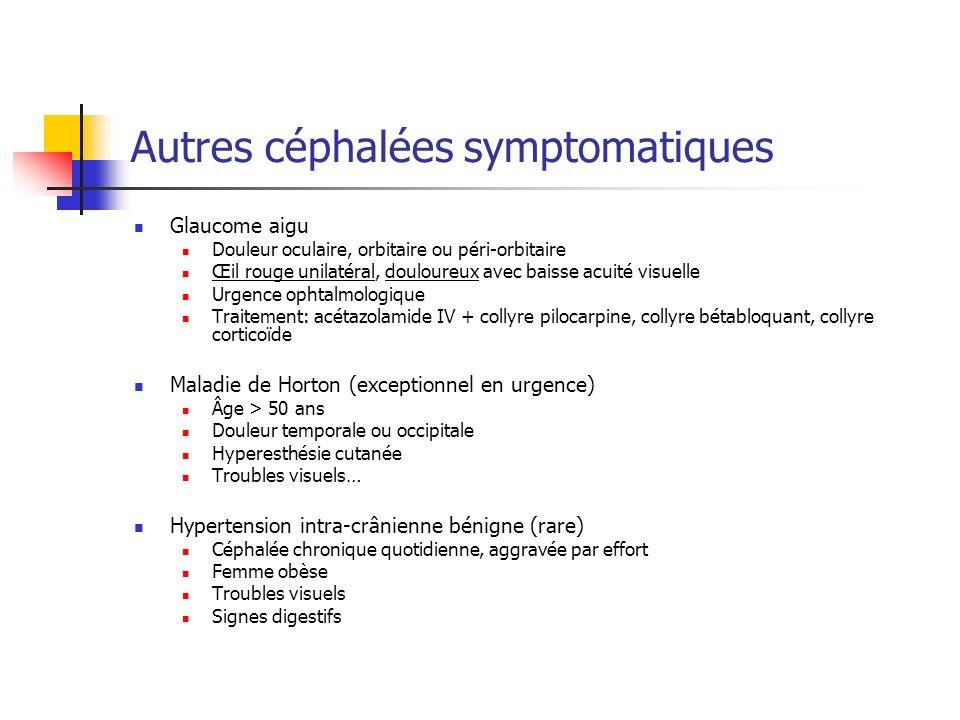 Autres céphalées symptomatiques