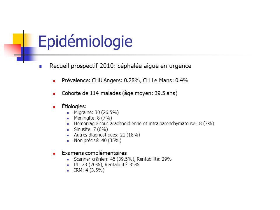 Epidémiologie Recueil prospectif 2010: céphalée aigue en urgence